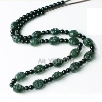 Natural Green HeTian Jade Carved Buddha Beads Knitted Pendant Necklace 13x10mm Laughting Buddha Beads Necklace Fine Jewelry