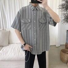 Summer New Plaid Shirt Men Fashion Retro Casual Man Streetwear Wild Hip Hop Loose Short-sleeved Male Clothes S-XL