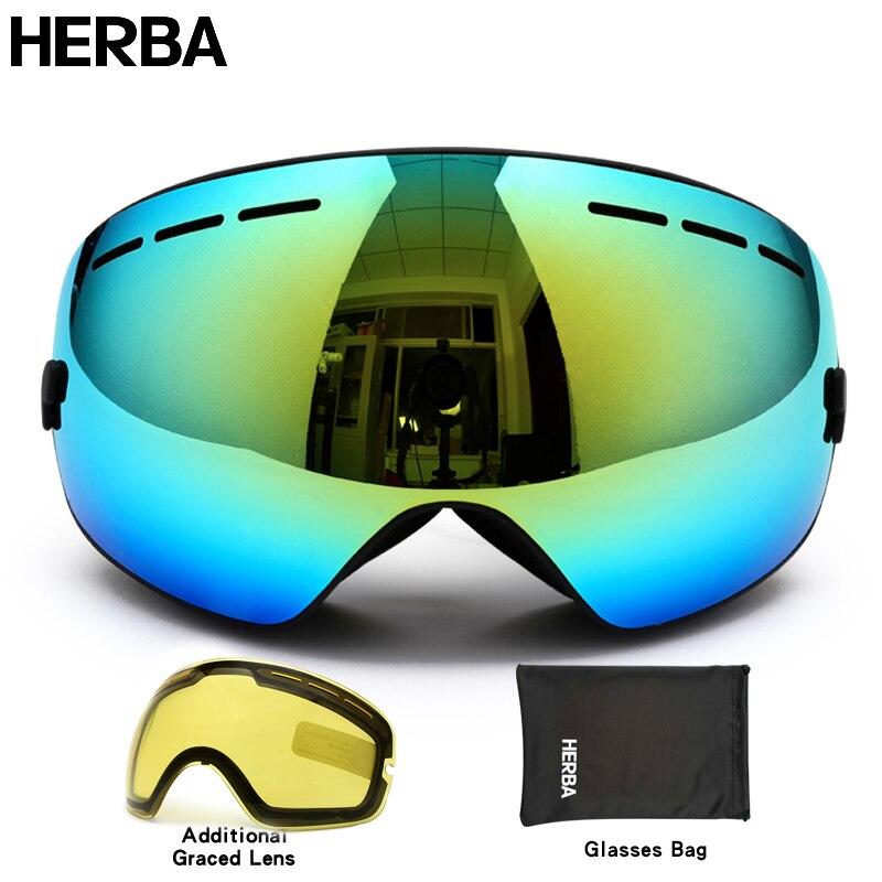 Prix pour Nouveau HERBA marque ski lunettes double UV400 anti-brouillard grand masque de ski lunettes de ski hommes femmes neige snowboard lunettes HB3-2