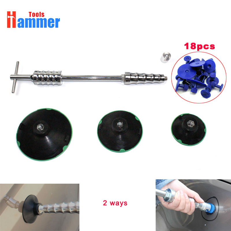 dent puller slide hammer vacuum cup pdr hammer car body paintless dent repair auto dent pulling heavy duty pdr tools car dent slide hammer auto dent repair dent remover t bar 2 in 1 dent puller hammer gift 24x pulling tabs
