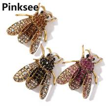 Cute Full Crystal Insect Bee Brooch For Women Butterfly Brooch Clothes Accessories Enamel Brooches Pin Jewelry Gifts enamel crystal tortoise owl butterfly brooches female insect animal brooch pin for women fashion jewelry clothes accessories