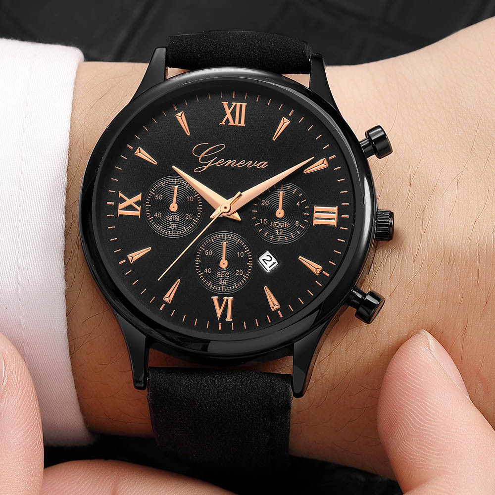 Quartz Watches Geneva Fashion Men Date Alloy Case Synthetic Leather Analog Quartz Sport Watch Mens Watches Top Brand Luxury Masculino Reloj Hot A Great Variety Of Goods Men's Watches
