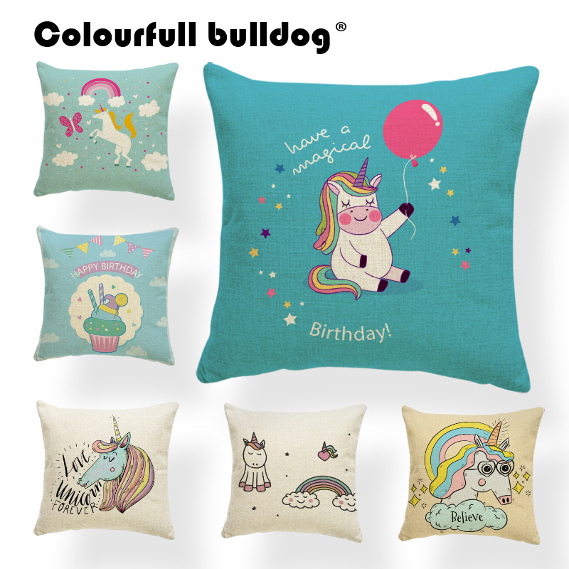 Cartoon Cute Unicorn Personalized Pillow Keep on Dreaming High Heels Cushion Cases Balloon Rainbow Pillowcases Home Decor Covers