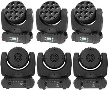 6xLot LED Moving Head Wash Light 12x12W RGBW 4in1 Quad Color High Power Stage DJ Disco Laser Projector DMX Party Lights by DHL