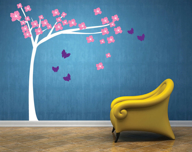 cherry blossom tree with butterflies fabric wall decal flower tree