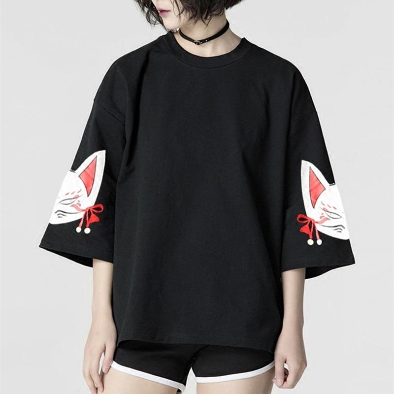 39a2b266d Harajuku Mulheres T-shirt Da Forma Hiphop Rua Gato Engraçado Impressão  Preto Tops Feminino Camisetas Punk Funk Rock Sete Luva Kawaii