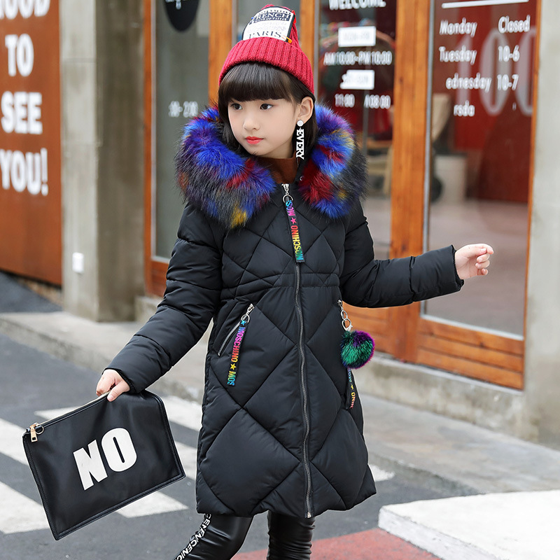 Down Jacket Girl Winter Coat Winter Long Sleeved Color Fur Collar Ribbon Hand Plug of Cotton Long Jacket 2017 New Kids Children new brand women s middle aged and old long down jacket female bigger sizes mother fur collar clothing winter coat printing hot