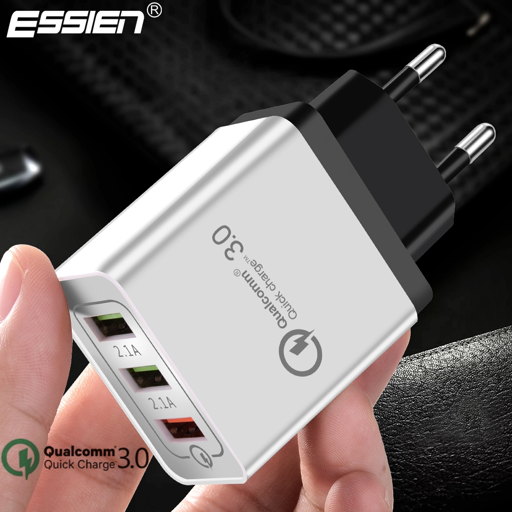 Essien USB Charger Quick charge 3.0 3 Ports Fast Wall Charger for iPhone X 8 7 Samsung S9