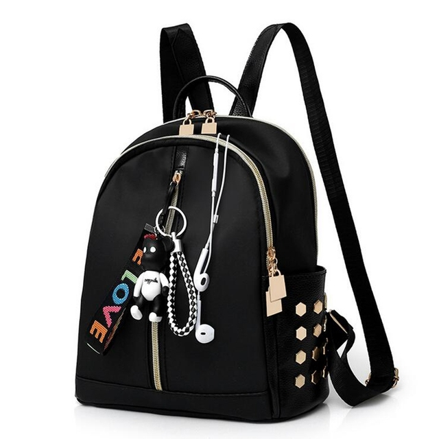 b6d21bc7e5ea New Korean Style Women Backpack Fashion Casual Shcool Bags For Girls Ladies  PU Leather Strap Black Color Solid Tote Bag Bolsa