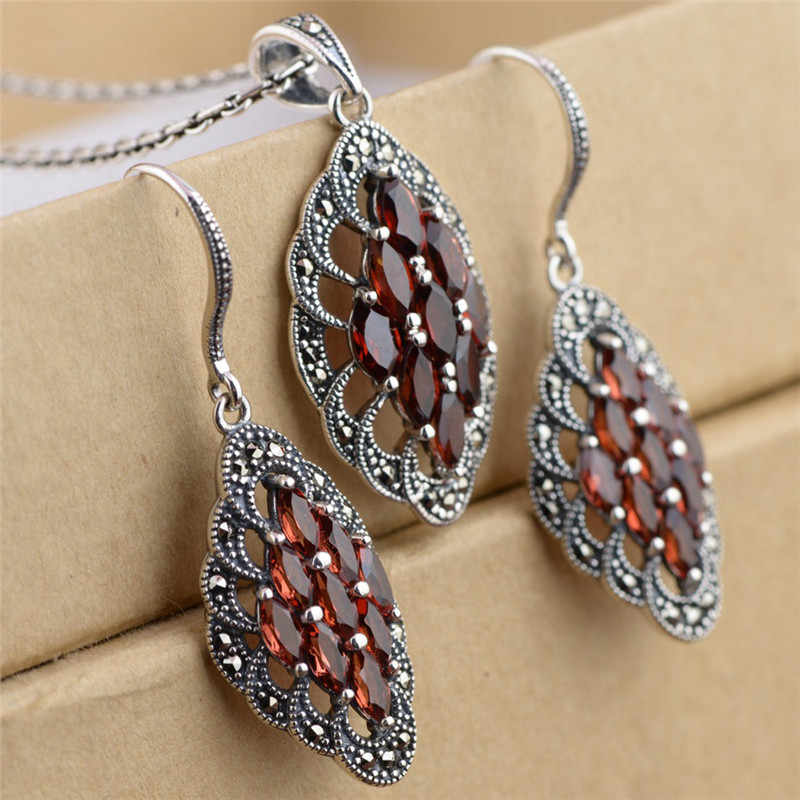 V.YA 925 Sterling Silver Garnet Stone Wedding Jewelry Set Jacinth Color Nature Stone Pendant & earrings Jewelry Set Fine Jewelry