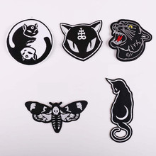 DOUBLEHEE Black White Animals Patch Embroidered Patches For Clothing Iron On Close Shoes Bags Badges Embroidery