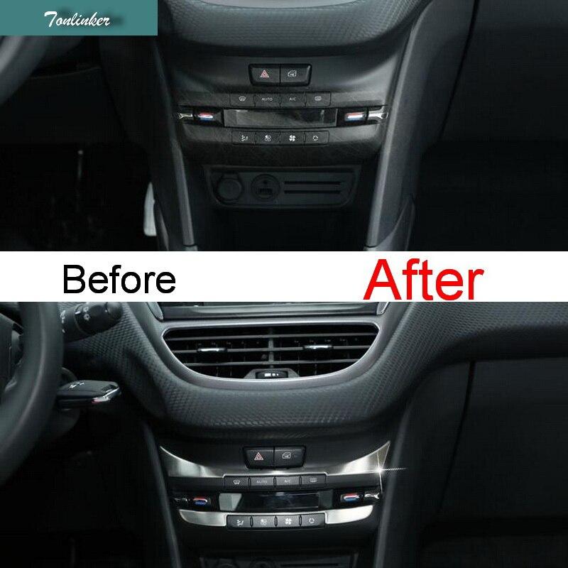 Tonlinker 2 pçs diy estilo do carro de aço inoxidável painel controle luz capa caso adesivos para peugeot 2008 2014 parte acessórios