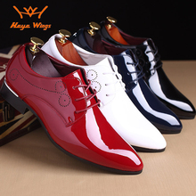 Heye Wings gentleman business Carved dress shoes oxford Patent leather pointed toe PU white red blue black color