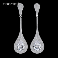 Mecresh Glittering Water Drop Cubic Zirconia Long Drop Earrings Gold Plated Brincos Bride Wedding Jewelry Christmas