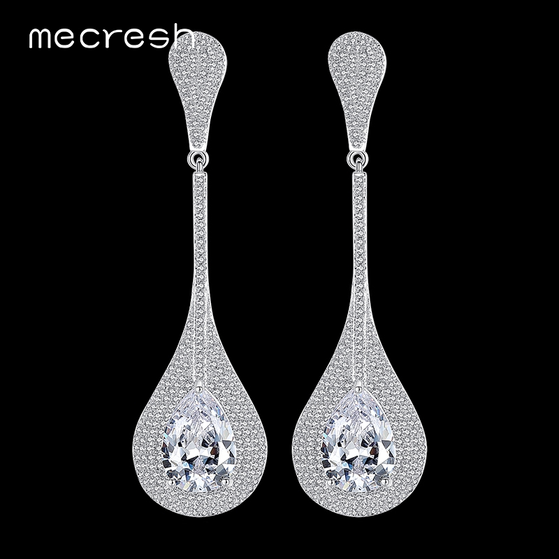 Mecresh Waterdrop Cubic Zirconia Wedding Long Earrings for Women Silver Color Bridal Drop Brincos Party Christmas Jewelry MEH799 цена