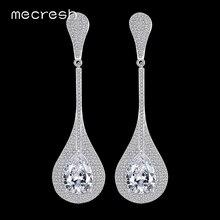 Mecresh Waterdrop Cubic Zirconia Wedding Long Earrings for Women Silver Color Bridal Drop Brincos Party Christmas Jewelry MEH799