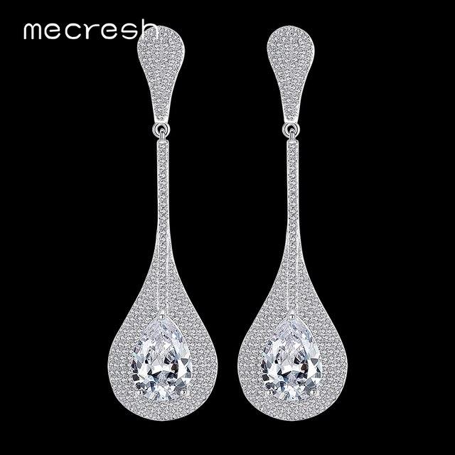 134f29aede6271 Mecresh Waterdrop Cyrkonia Długie Kolczyki Ślubne dla Kobiet Kolor Srebrny  Brincos Christmas Party Biżuteria Dla Nowożeńców