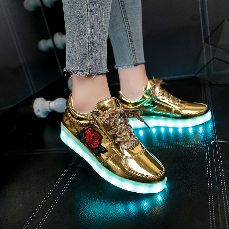 Size 27-42// Children Glowing Sneakers Kids Led Shoes Floral Luminous Sneakers For Women USB Charging Led Shoes For Kids