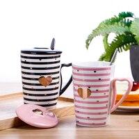 Đến New Creative Đáng Yêu Cốc Cà Phê chén Gốm với Nắp Sữa Chén trà với muỗng chai nước Ăn Sáng Chén Người Yêu Cô Gái Món Quà