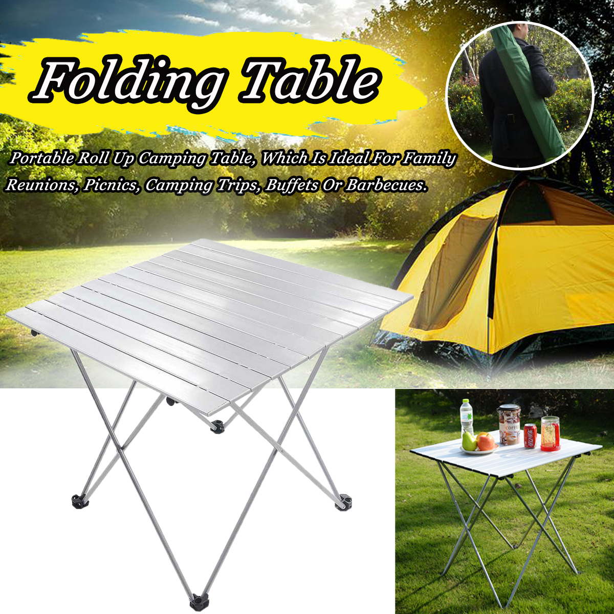 Camping Table Roll Up Top Picnic Folding Portable Table Hiking Carry Bag Durable Folding Table Desk For Picnic table portable portable folding picnic table