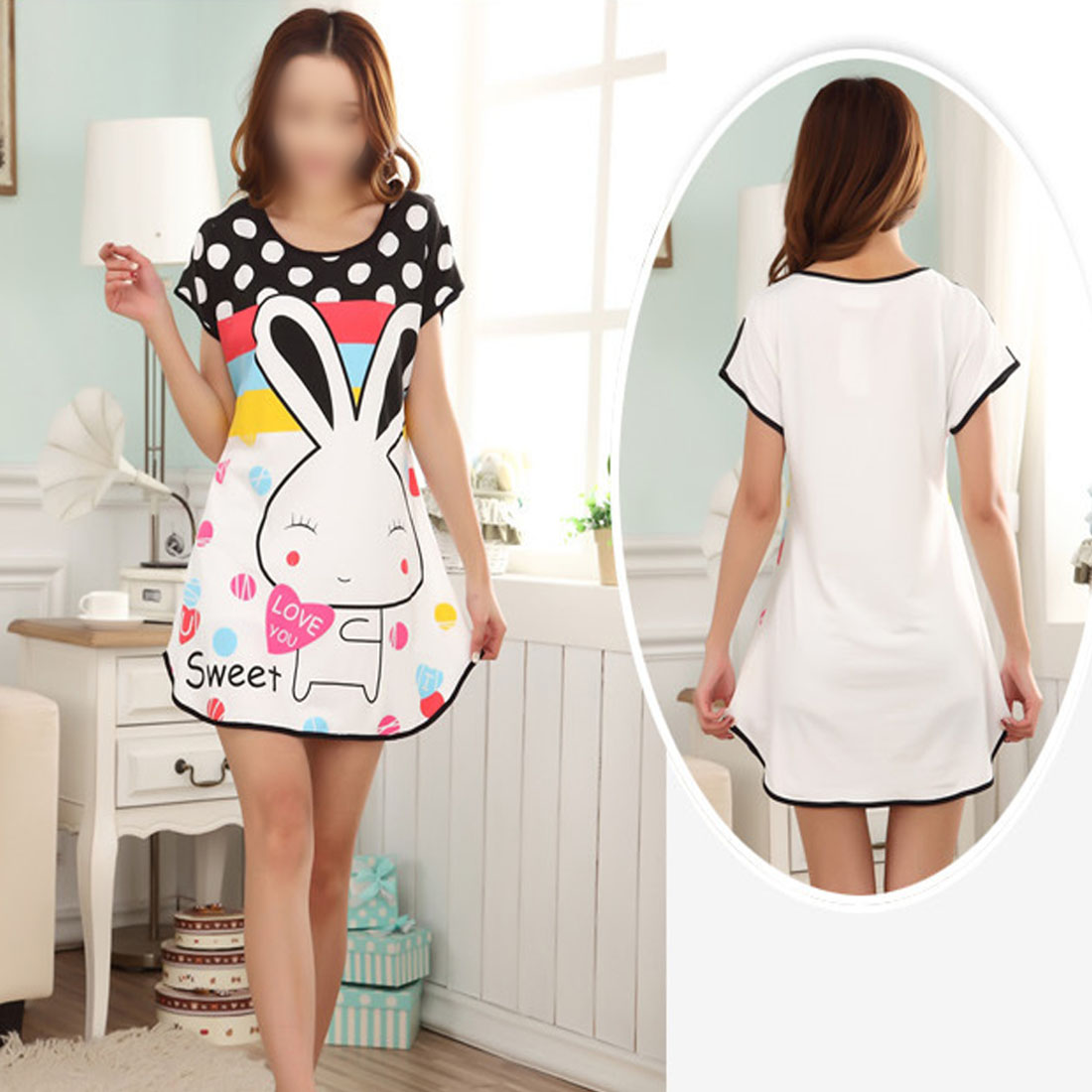 2019 Lovely Cartoon Pattern Printed   Sleepshirt   Plus Size Oversized Nightdress Womens Summer Short Sleeve Sleep Dress Young Girl