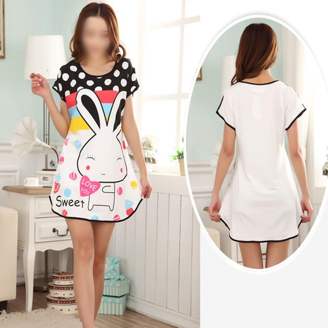 2019 Lovely Cartoon Pattern Printed   Sleepshirt   Plus Size Oversized Nightdress Womens Summer Short Sleeve Sleep Dress Young Girl