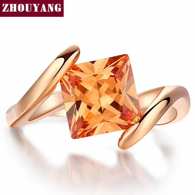 ZHOUYANG Ring For Women 8mm Square Princess cut Orangle Cubic Zirconia Rose Gold