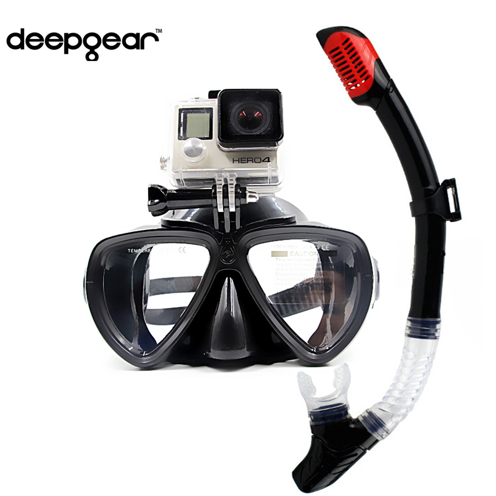 DEEPGEAR Detachable camera mount mask dry snorkel gears Twin lens low profile scuba diving mask black silicone underwater mask tempered glass myopia snorkel set adult scuba diving mask gopro camera mount dry diving set deepgear brand scuba snorkel gears