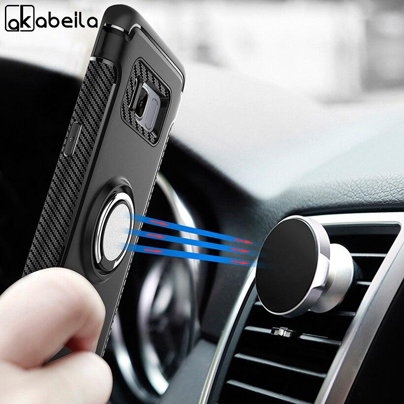 AKABEILA Case For Samsung Galaxy S8 Dedo Anel Ímã Do Carro Matte Protetor Para Samsung S8 Kicksatnd Shell G950F G950FD G950U