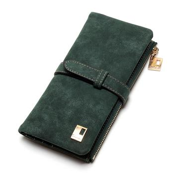 Women's Nubuck Leather Wallet Bags and Wallets Hot Promotions New Arrivals Women's Wallets Color: Army Green
