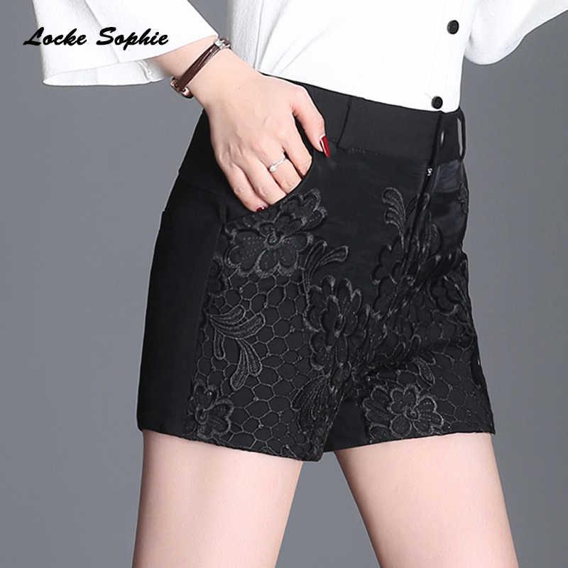 1 sztuk kobiet Plus size spódnice plażowe szorty 2019 wiosna bawełna mieszanka koronkowa łączona spodenki z wysokim stanem panie obcisła, krótka spodnie