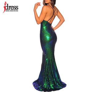 Image 2 - IDress 2019 Black/ Gold/ Green Women Elegant V Neck Sleeveless Evening Party Maxi Long Dress Sexy Backless Sequin Vestidos Longo
