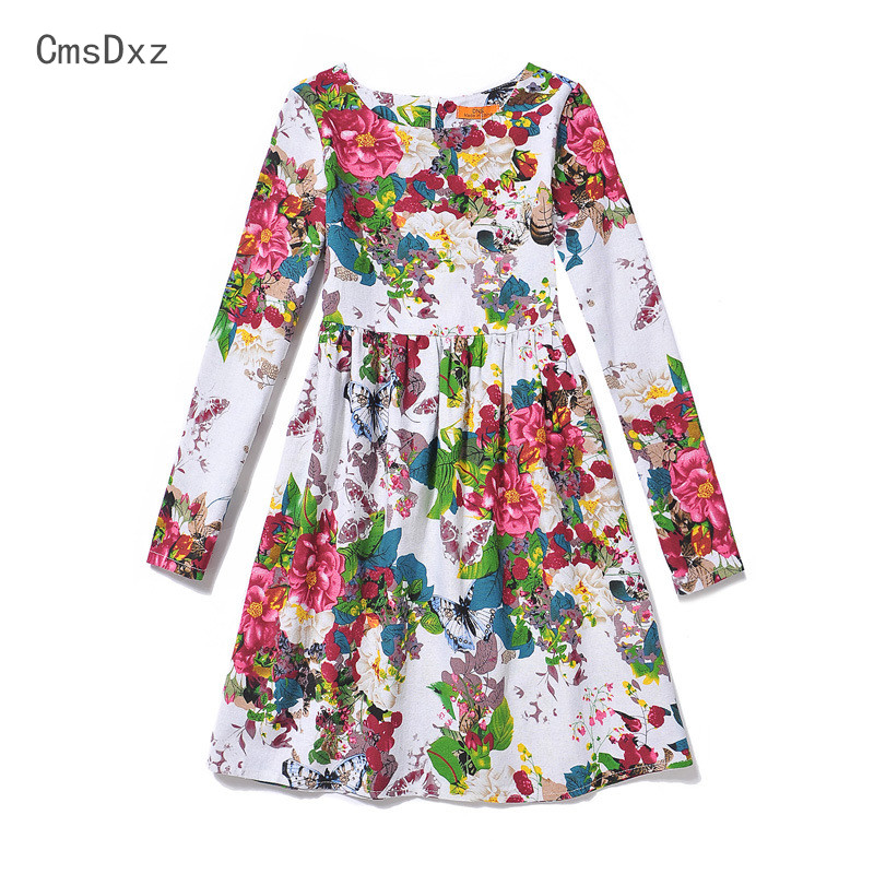 CmsDxz 2017 New 6-12Y Autumn Girls Dresses European and American Style Clothing Long Sleeve Girls Dress Kids Dresses For Girls 2016 new autumn girls costume european&american style kids dress for girls fashion lace floral child long sleeve dress