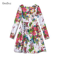 CmsDxz 2017 New 6 12Y Autumn Girls Dresses European And American Style Clothing Long Sleeve Girls