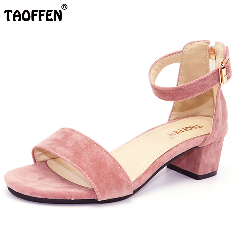 TAOFFEN Plus Size 30-50 Women Shoes Women Sandals Middle Heels Belt Buckle Simply Summer Shoes Fashion Casual Party Sexy Shoes