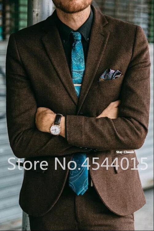 Marrom do vintage Tweed Espinha Terno Homens Outono Inverno Slim Fit Jaqueta Homens Blazer Designs Mais Recentes Dos Homens Clássicos Ternos Com Calças 2 PCS