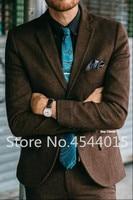 Vintage Brown Tweed Herringbone Suit Men Fall Winter Slim Fit Men Blazer Jacket Latest Designs Classic Men Suits With Pants 2PCS