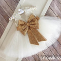 White/ivory lovely flower girls dresses with gold sequined bow kids beauty prom ball gowns baby frocks for wedding occasion