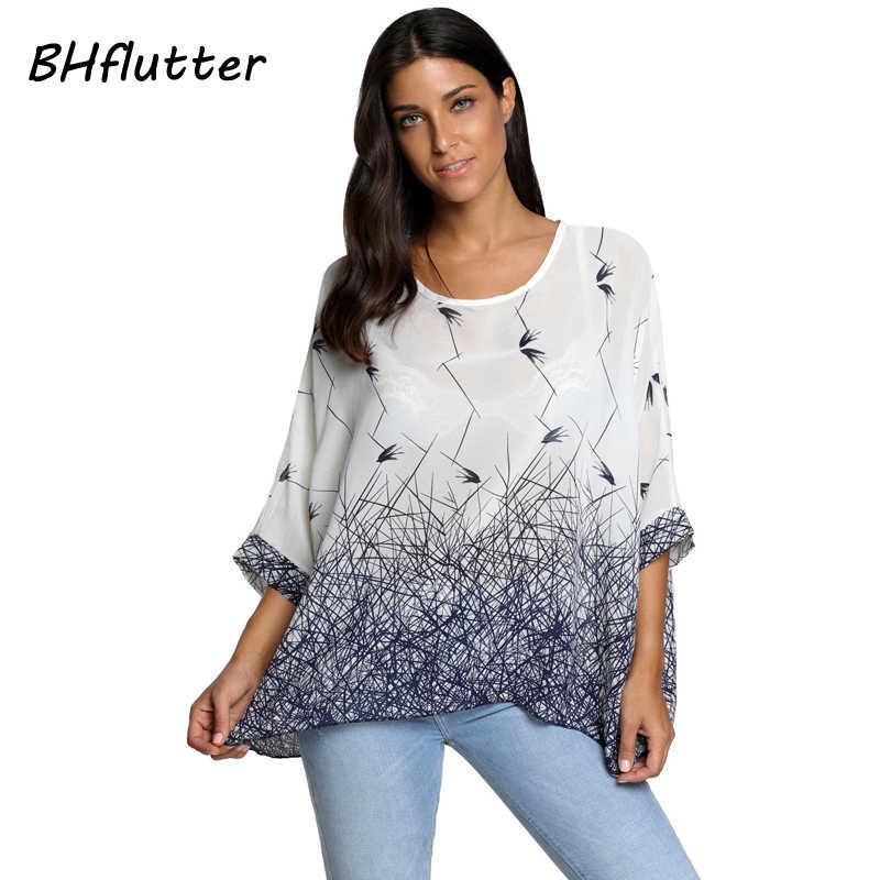 fb029dcea95 BHflutter женские блузки летние топы футболки новый стиль 2018 летучая мышь  Повседневная шифоновая блузка рубашка 4XL