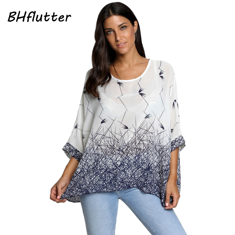BHflutter Blusas Summer Tops New Style 2017 Batwing Casual C