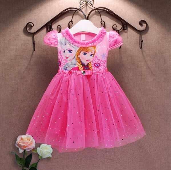 Novo 2018 vestidos da menina marca de verão roupas do bebê criança princesa anna elsa vestido neve rainha cosplay traje festa crianças roupas