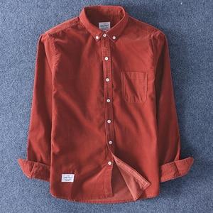 Image 4 - Schinteon Top Kwaliteit 100% Katoen Corduroy Shirt Lange Mouwen Dieptepunt Shirt Slim Fashion Brand S 4XL