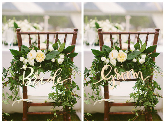 outdoor wedding chair decorations rustic and groom wooden sign for wedding chair 6320