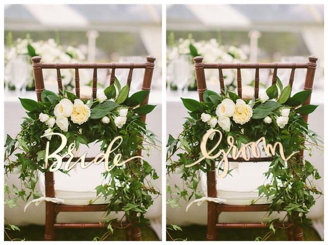 Rustikalen Braut Und Bräutigam Holz Zeichen Für Hochzeit Stuhl