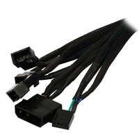 Filet noir 12 pouces IDE Molex à 3 x TX4 4 broches PWM boîtier CPU ventilateur de refroidissement séparateur Hub adaptateur secteur câble w/RPM Feedback