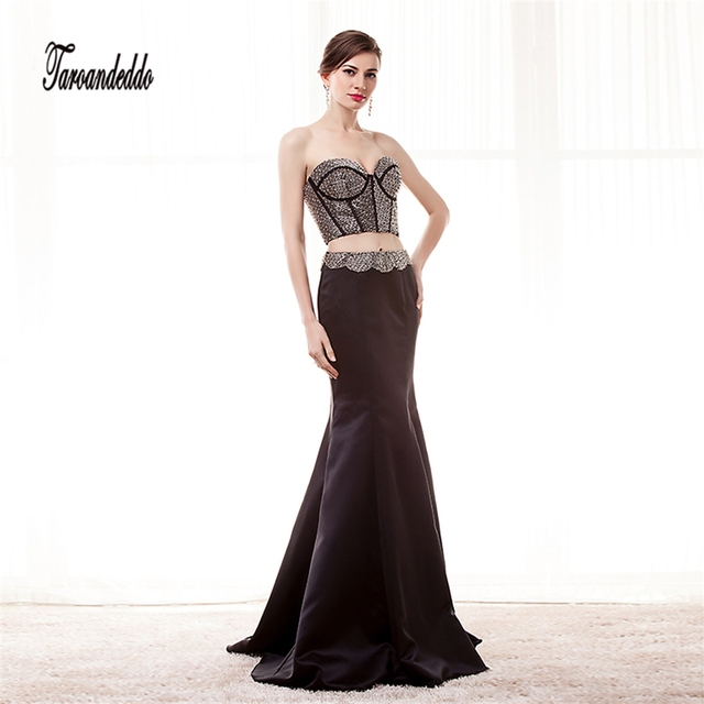 Beaded Prom Dresses Black Satin Evening Gowns Two Pieces Sleeveless ...