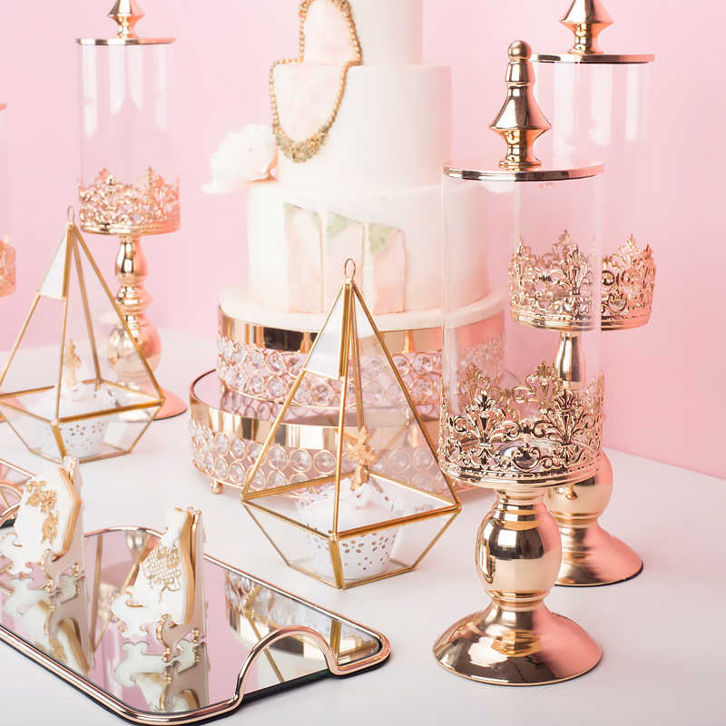 High Grade European Metal Base Candy Jar Wedding Dessert Table