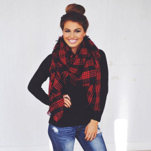 Winter font b Tartan b font Female Scarf Designer Checkered Wool Blend Brand Shawls Scarves Hot