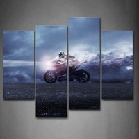 4 Panels Unframed Wall Art Pictures Man Motorcycle Canvas Print Modern Car Posters No Frames For Home Living Room Decor