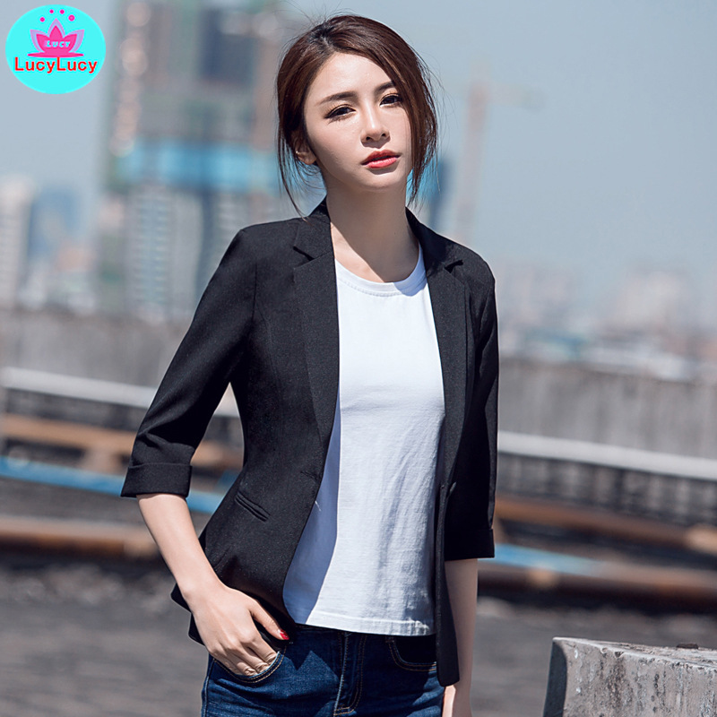Fashion 2019 summer Korean version of the OL temperament women's suit collar seven points Slim suit Notched  Single Breasted